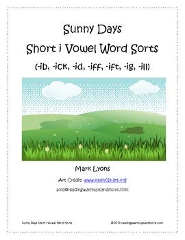 Sunny Days Short Vowel i Word Sorts -ib,-ick,-id,-iff,-ift