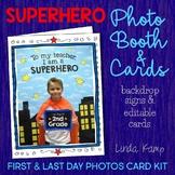 First & Last Day Superhero Photo Booth & Editable Keepsake Cards