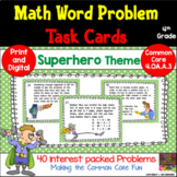 4th Grade Super-Hero Math Word Problem Task Cards