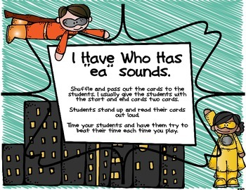 """Super Heroes I Have Who Has long and short E sound and """"ea"""