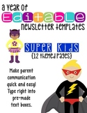 Editable Newsletter Templates (12 included): Super Kids He