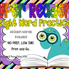 Super Sight Word Reader Low Ink NO PREP Kindergarten 59 words