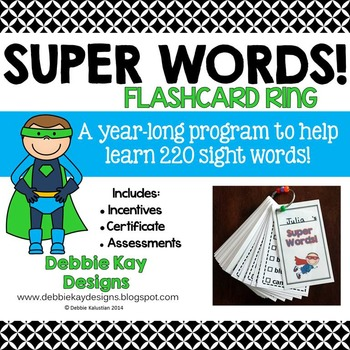 Super Words Flashcard Ring (sight words practice)