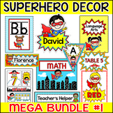 Superhero Theme Classroom Decor Bundle 1 - Name Tags, Name