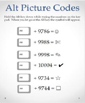 Symbol Codes Using the Alt Key