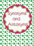 Synonym and Antonym Matching Cards
