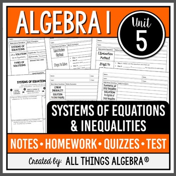 Algebra 1: Systems of Equations & Inequalities (Unit 5)