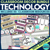 TECHNOLOGY Classroom Theme EDITABLE Decor-34 Product Bundle