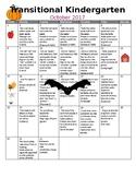 TK /Pre-K Transitional Kindergarten Monthly Homework Calen