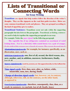 TRANSITIONAL OR CONNECTING WORDS FOR ESSAY WRITING