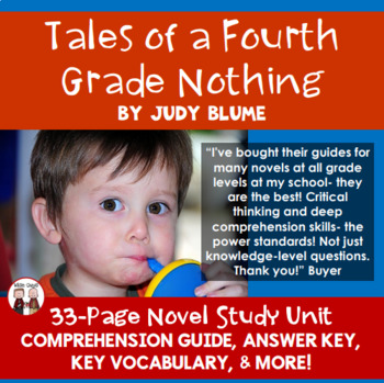 Tales of a Fourth Grade Nothing Novel Comprehension Activi