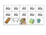 Tarjetas de silabas trabadas