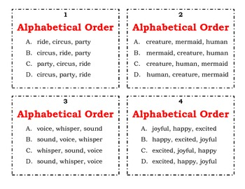 Task Cards - ABC Order