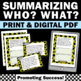 Summarizing Task Cards Worksheets Wh Questions (who, what)
