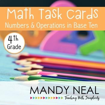 Test Prep Task Cards for 4th Grade Common Core Math *Inclu
