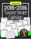Teacher Binder 2015-2016 Calendar Editable