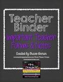 Teacher Binder Important Forms, Sub Plans, & Notes Editable