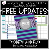 Teacher Binder Planner Organizer, Common Core, Editable, Monsters