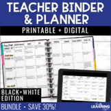 Teacher Planner - Black and White {Free Updates Every Year}