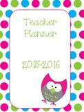 Teacher Planner - Owls and Polka Dots 2015-2016