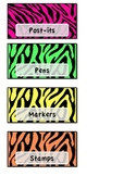 Teacher Toolbox Labels-Zebra and bright colors theme