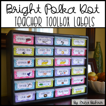 Teacher Toolbox Supply Labels: Bright Polka Dot