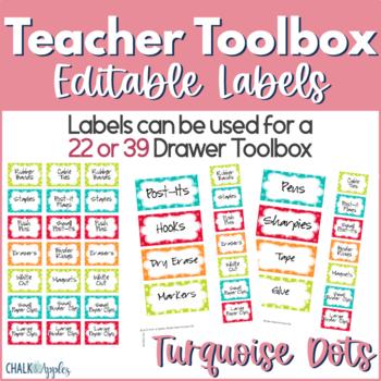 Teacher Toolbox - Turquoise Dots (Editable)