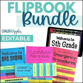Teacher's Helper Editable FlipBook Bundle - Class Info, Substitutes, Emergencies