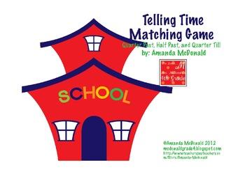 Telling Time Matching Game (Quarter Till, Quarter After, A