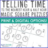 Tellling Time to the Hour and Half Hour Magic Square Puzzle