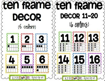 Ten Frame Decor 1-20 Bundle {6 polka dot colors}