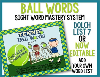 Ball Words Sight Word Mastery System-Tennis Ball Words Dol