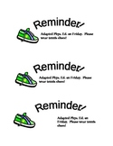 Tennis Shoe Reminder for Physical Education