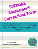 Test and Assessment Corrections Forms (3 versions)
