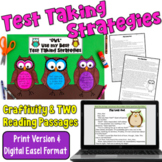 Test Prep Bundle: Owl Craftivity and TWO test prep passages