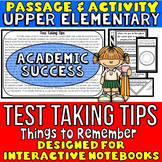 Test Taking Tips Passage and Activity for INTERACTIVE NOTEBOOKS