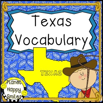 Texas Vocabulary ~ 33 vocabulary cards and header