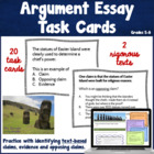 Argumentative Essay Task Cards ~ Text based!