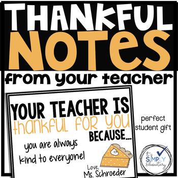 Thankful Teacher Notes