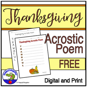 Thanksgiving Acrostic Poem - Thankful