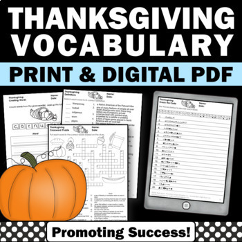 Thanksgiving Worksheets No Prep Word Search, Writing, and More!