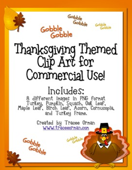 Thanksgiving Autumn Themed Clip Art Commercial Use