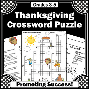 Thanksgiving Activities Crossword Puzzle