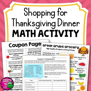 Thanksgiving Dinner Shopping Trip Decimal Math Activity w DIfferentiation