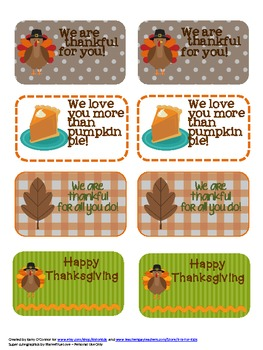 Thanksgiving FREEBIE - tags for students, coworkers, friends