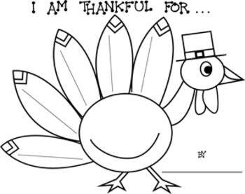 "Thanksgiving -  ""I Am Thankful For . . ."" Turkey Printable Worksheets"