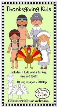 Thanksgiving Kids (includes line art)