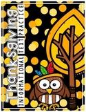Thanksgiving Non-Fiction Reading Comprehension & Graphic O