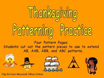 Thanksgiving Patterns Independent Practice for Kindergarten