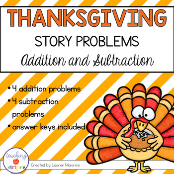 Thanksgiving Story/Word Problems: Addition and Subtraction